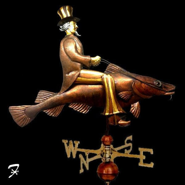 Weathervane Aquatic Codfish with Uncle Sam
