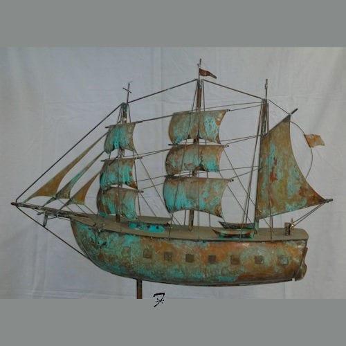 Ship Weathervane Barque Verdigris