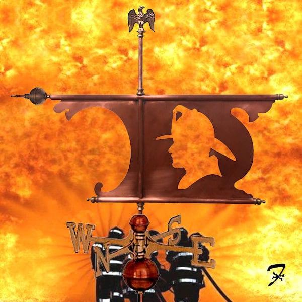 Fireman Banner Weathervane