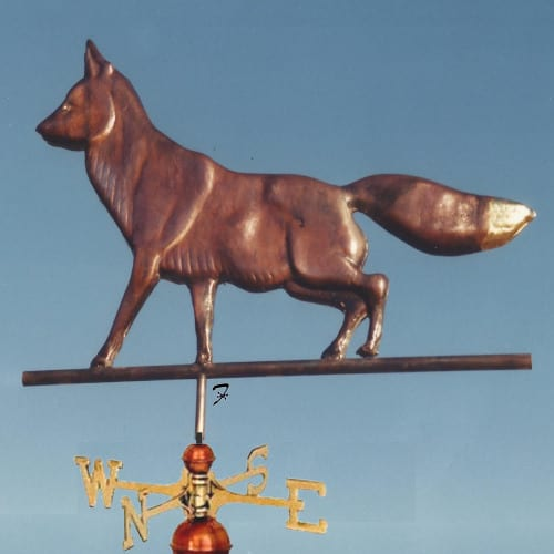 Fox Weathervane - Bronze with gold tail tip. a