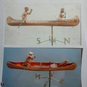 Canoe Weathervane with Paddlers*